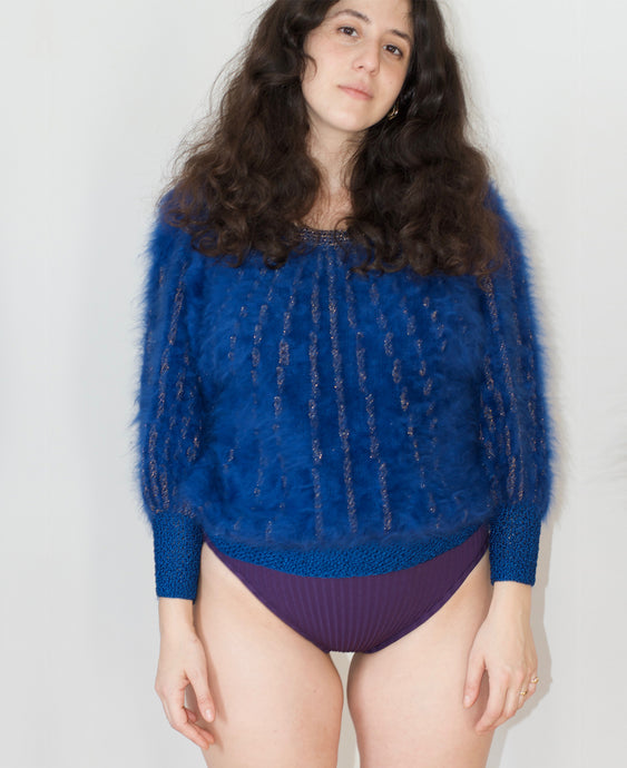 Fuzzy sweater- hand knitted