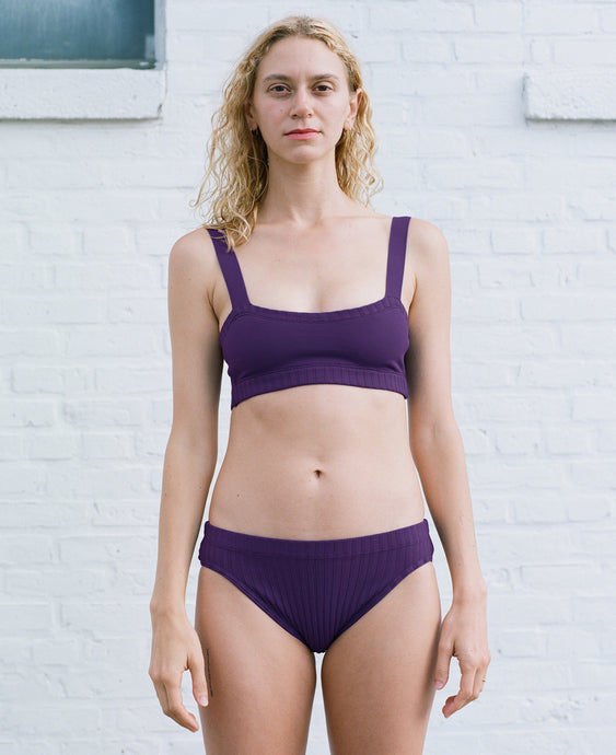 KNIT LOW BRIEF PLUM