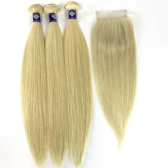 Virgin Blonde Straight 4x4 Lace Closure - Single Donor - GEMSTONE BEAUTY STORE