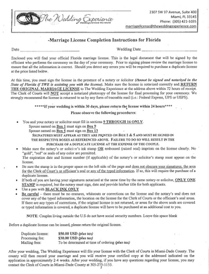 Marriage License Completion Procedure (Downloadable PDF) – Florida