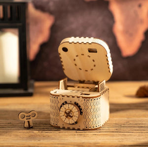 Wooden Mechanical Gear Treasure Box
