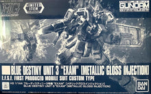 Load image into Gallery viewer, HGUC 1/144 BLUE DESTINY UNIT 3 EXAM (METALLIC GLOSS INJECTION) (CONVENTION EXCLUSIVE)