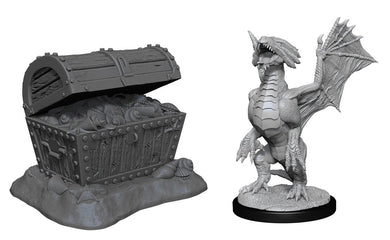 D&D Nolzur's Marvelous Miniatures Bronze Dragon Wyrmling & Pile of Seafound Treasure