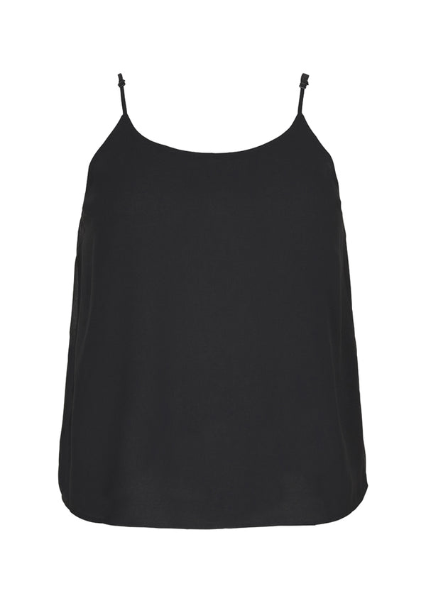 Sort chiffon top med justerbart stropper