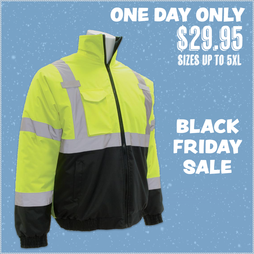 ERB W105 ANSI Class 3 Economy Bomber Jacket Black Friday Sale