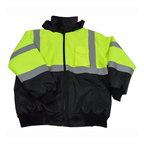 Petra Roc LQBBJ-C3 ANSI Class 3 Waterproof Bomber Jacket with Sewn In Quilted Liner, Lime/Black