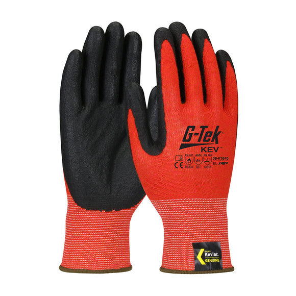 PIP 09-K1640 G-Tek KEV Seamless Knit Kevlar Glove with Nitrile Coated Foam Grip