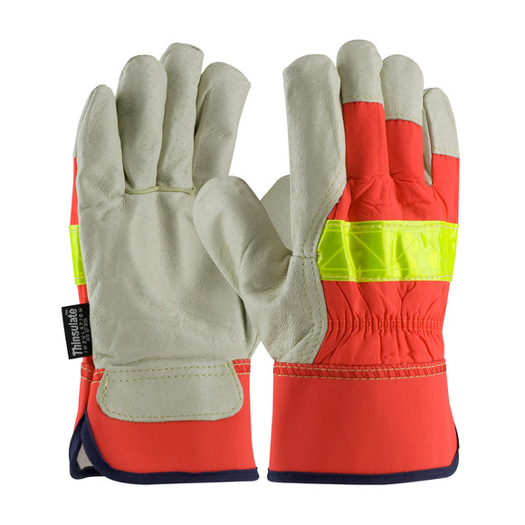 PIP 125-458 Grain Pigskin Leather Palm Hi Vis Glove, Thinsulate Lined
