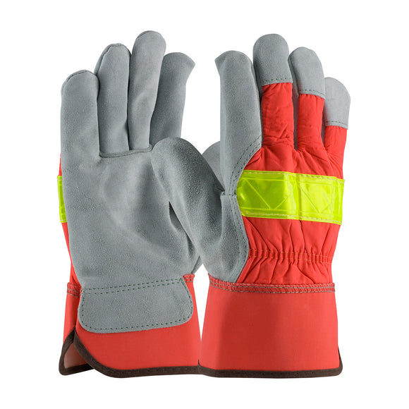PIP 125-7563 Split Cowhide Leather Palm Hi Vis Glove