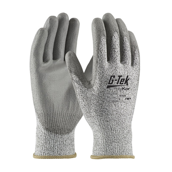 PIP 16-530 G-Tek PolyKor Seamless Knit Glove with Polyurethane Coated Smooth Grip
