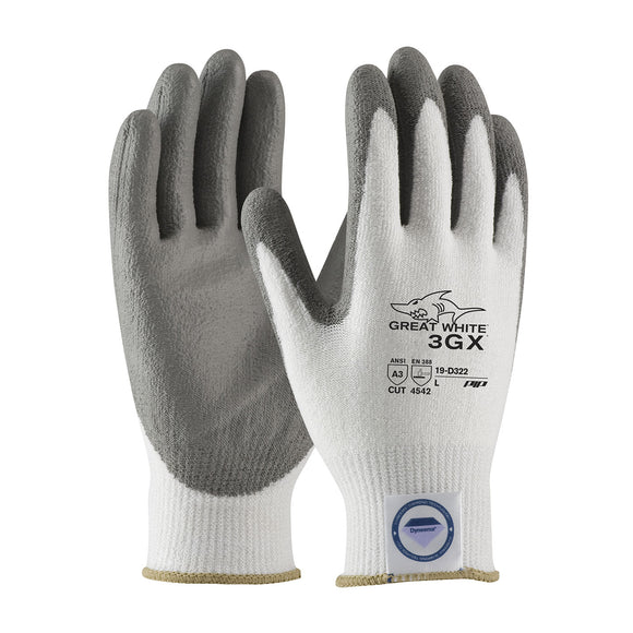 PIP 19-D322 Great White 3GX Seamless Knit Dyneema Diamond Glove with Polyurethane Coated Smooth Grip