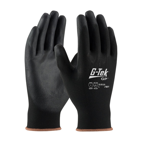 PIP 33-B125 G-Tek GP Black Seamless Knit Nylon Glove with Polyurethane Coated Smooth Grip