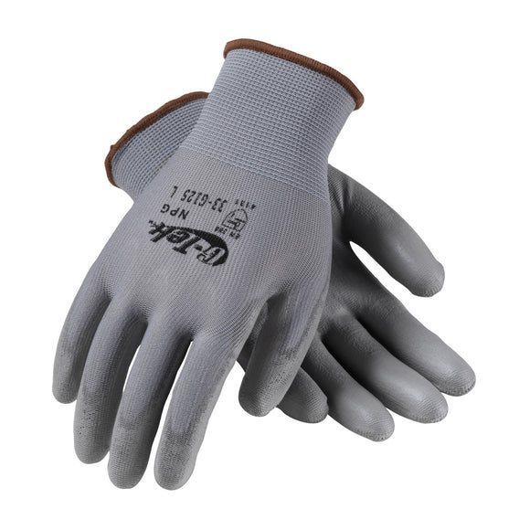PIP 33-G125 G-Tek GP Gray Seamless Knit Nylon Glove with Polyurethane Coated Smooth Grip