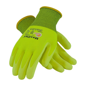 PIP 34-874FY MaxiFlex Ultimate HiVis Seamless Knit Nylon Glove with Nitrile Coated MicroFoam Grip