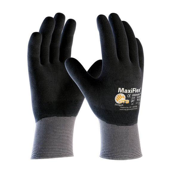 PIP 34-876 MaxiFlex Ultimate Seamless Knit Nylon Glove with Nitrile Coated MicroFoam Grip