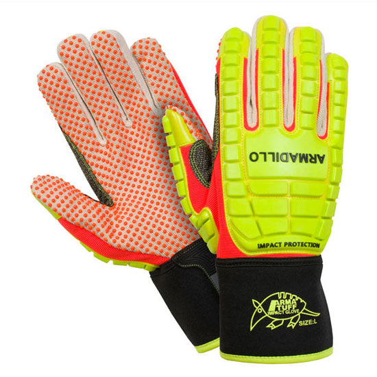 Southern Glove APDMECOG Arma Tuff Armadillo Hi Vis Dotted Palm Impact Gloves