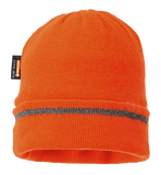 Portwest B023 Insulatex Lined Reflective Trim Knit Hat, High Visibility Orange