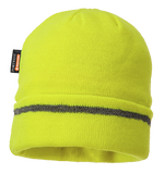 Portwest B023 Insulatex Lined Reflective Trim Knit Hat, High Visibility Lime