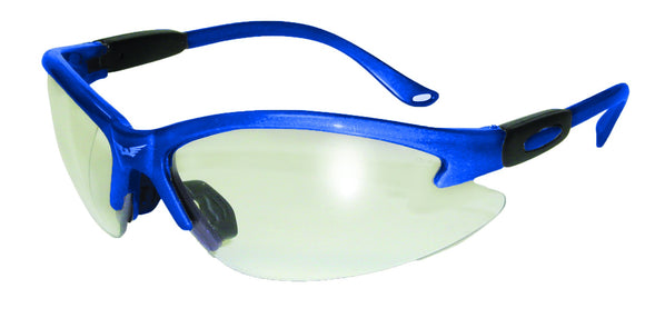 Global Vision Cougar Blue CL Safety Glasses with Clear Lenses, Blue Frames