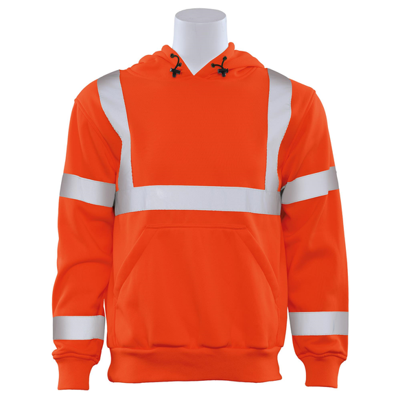 ERB W376 ANSI Class 3 Orange Hooded Pullover Sweatshirt