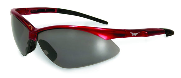 Global Vision Fast Freddie Red Safety Glasses with Smoke Lenses, Gloss Red Frames