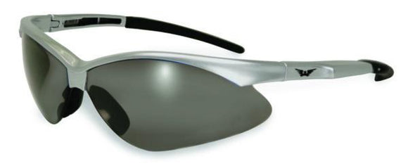 Global Vision Fast Freddie Silver Safety Glasses with Smoke Lenses, Gloss Silver Frames