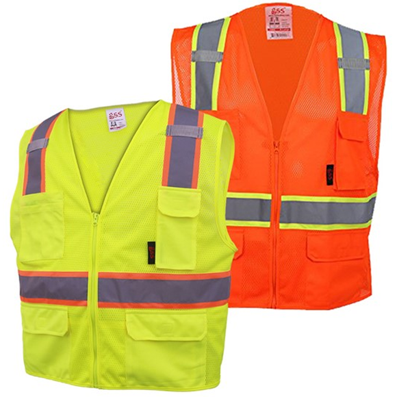 GSS Safety Premium Class 2 Multi-Purpose Two Tone Mesh Safety Vest with 6 Pockets