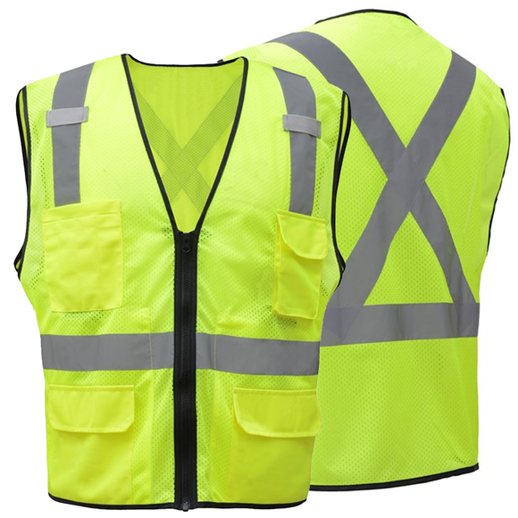 GSS Safety Premium Class 2 Utility Safety Vest with X Back