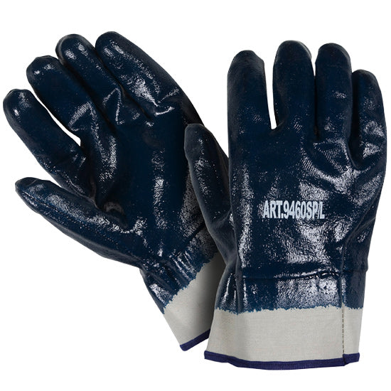 Southern Glove INFCSC Blue Nitrile Coated Safety Cuff Jersey Gloves