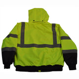 Petra Roc LBBJ-C3 ANSI Class 3 Waterproof High Visibility Bomber Jacket with Removable Liner, Back