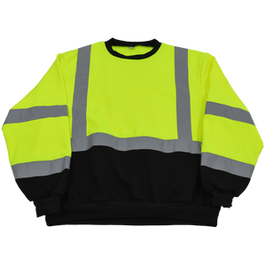 Petra Roc LBCSW-C3 ANSI Class 3 Two Tone Black Bottom High Visibility Crew Neck Sweatshirt