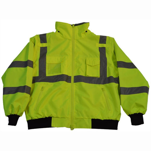 Petra Roc LBJ-C3 ANSI Class 3 Waterproof High Visibility Bomber Jacket with Removable Liner