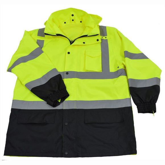 Petra Roc LBPJ3IN1-C3 ANSI Class 3 Lime/Black Waterproof 3-IN-1 High Visibility Thermal Jacket