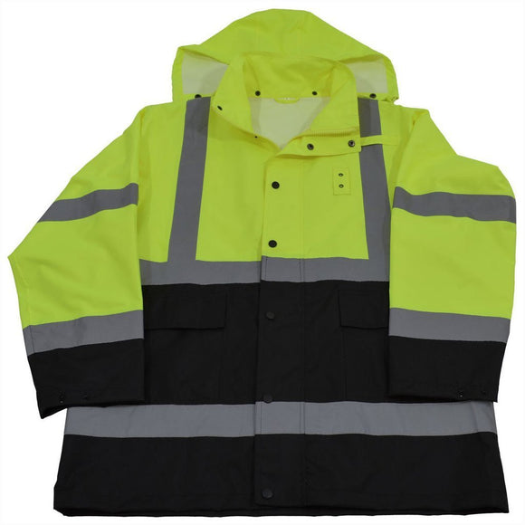 Petra Roc LBRJK-C3 ANSI Class 3 Lime/Black Waterproof High Visibility Rain Jacket