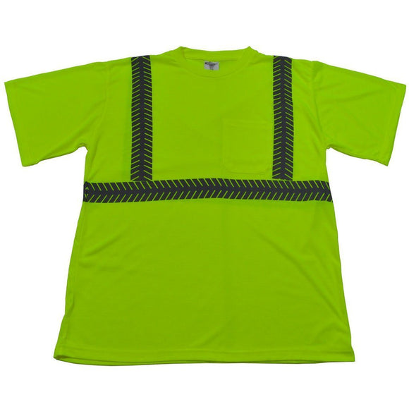 LJTS2 ANSI Class 2 Lime High Visibility Jersey Knit Pocket Short Sleeve T-Shirt