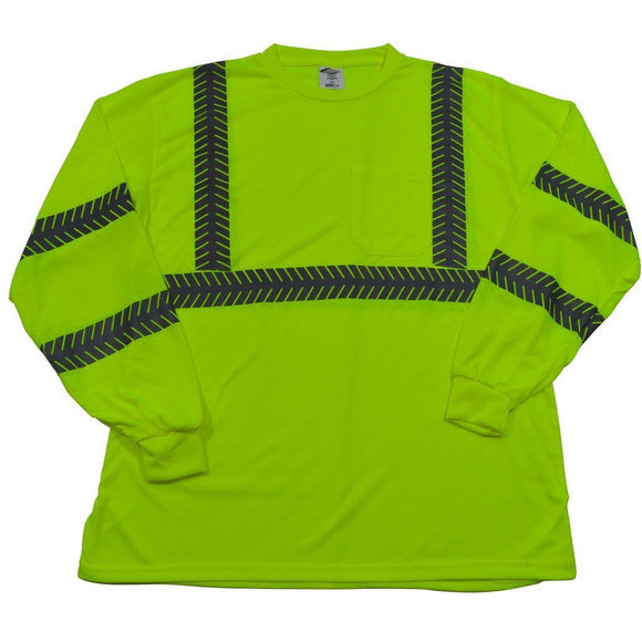 Petra Roc LJTSL3 ANSI Class 3 Lime Jersey Knit Pocket Long Sleeve High Visibility T-Shirt