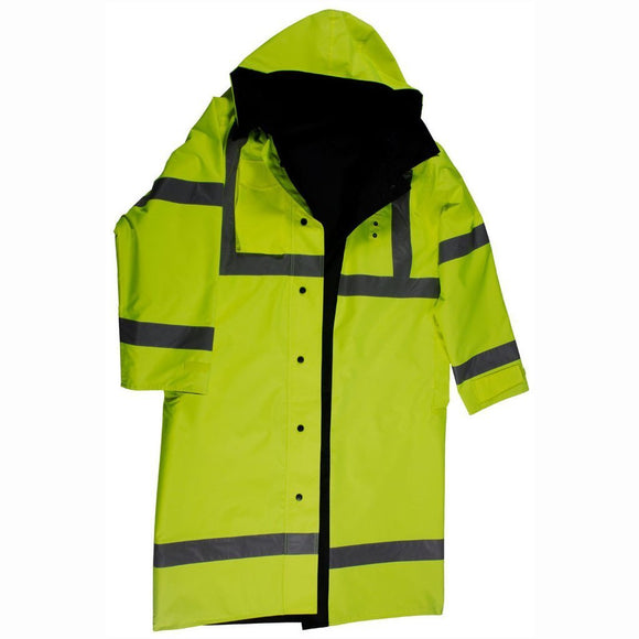 "Petra Roc LRC-48RV-C3 ANSI Class 3 Lime/Black Waterproof Reversible High Visibility 48"" Long Rain Coat"