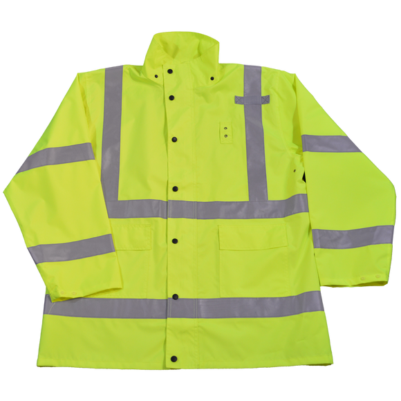 Petra Roc LRJK-C3 ANS Class 3 Lime Waterproof High Visibility Rain Jacket