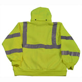 Petra Roc LSWS-C3 ANSI Class 3 Lime Green Zip-Up Sweatshirt With Detachable Hood, Back