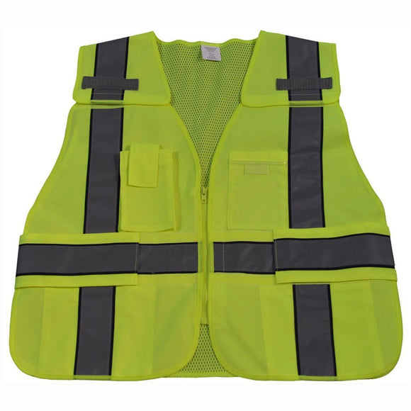 Petra Roc LV2-BPSV ANSI Lime/Navy Two Tone Expandable 5-Point Breakaway Public Safety Vest