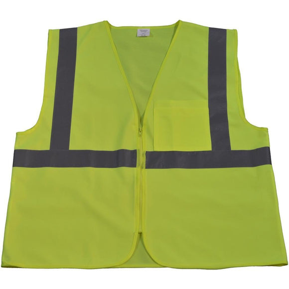 Petra Roc LV2-CB0/LVM2-CB0 ANSI Class 2 Safety Vest with Zipper Closure, Solid Front