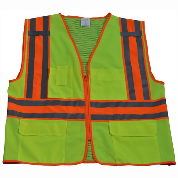 Petra Roc LV2-FSMBCB2 ANSI Class 2 Solid Front Mesh Back Two Tone DOT Surveyors Vest