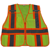 Petra Roc 5-Point Breakaway Public Safety Vest, Lime Solid Front
