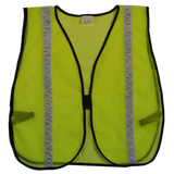 Lime ANSI Non-Rated Mesh Safety Vest, High Gloss Tape, Front
