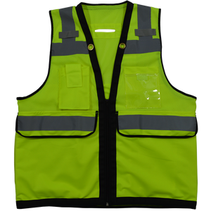 ANSI Class 2 Deluxe 8-Pocket High Visibility Heavy Duty Surveyors Safety Vest, Front