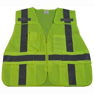 Petra Roc LV2/LVM2-LPSV ANSl All Lime Expandable 5-Point Breakaway Public Safety Vest, Mesh Front