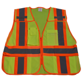 Petra Roc 5-Point Breakaway Public Safety Vest, Lime Mesh Front