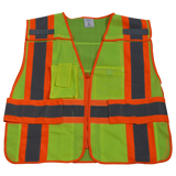 LVM2/LV2-PSVP ANSI/ISEA Class 2 Two Tone Expandable 5-Point Breakaway Public Safety Vest, Mesh Front