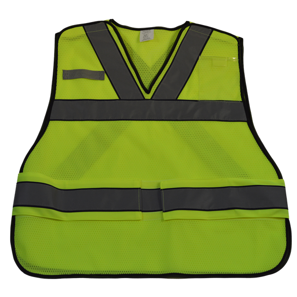 "Petra Roc LV2-VNPSV ANSI V-Neck Lime Mesh Public Safety Vest, ""X"" on Back"