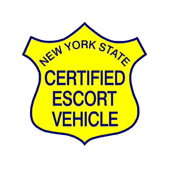 New York State Certified Escort Magnetic Vehicle Sign